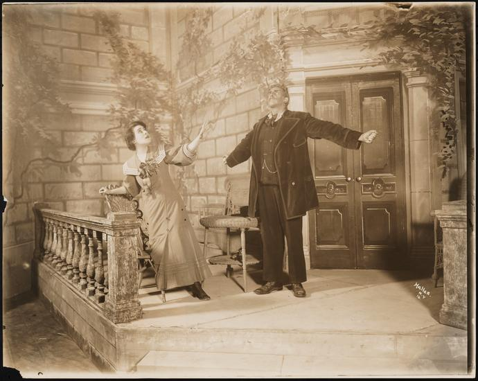 "1907: Alla Nazimova as Hilde Wangel and Walter Hampden as Halvard Solness in ""The Master Builder"" revival, Bijou Theater, Broadway"