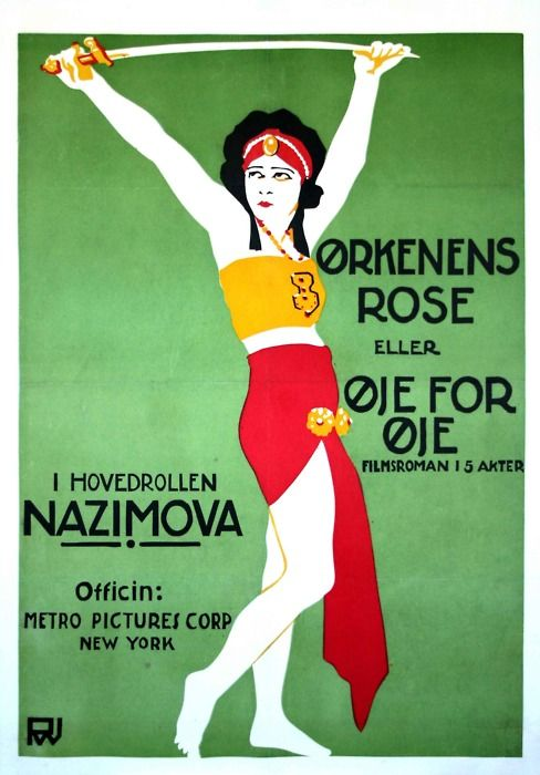 "1918 Danish poster for ""Eye for Eye"" starring Alla Nazimova"
