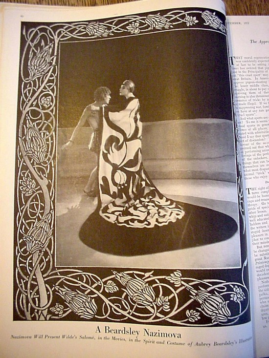 "1922: Nazimova in ""Salome"" as presented in ""Vanity Fair"" magazine."