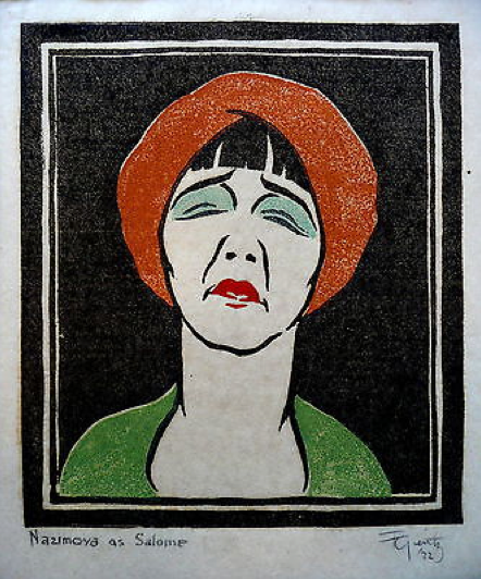 1922 Woodblock of Alla Nazimova as Salome - Signed by Franz Geritz