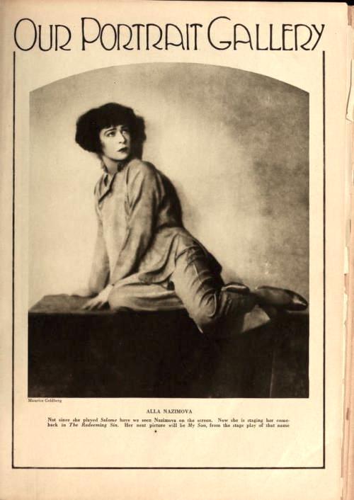 """1925: Portrait of Alla Nazimova from """"Motion Picture"""" magazine"""