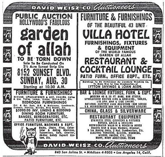 Garden oh Allah closing autction notice