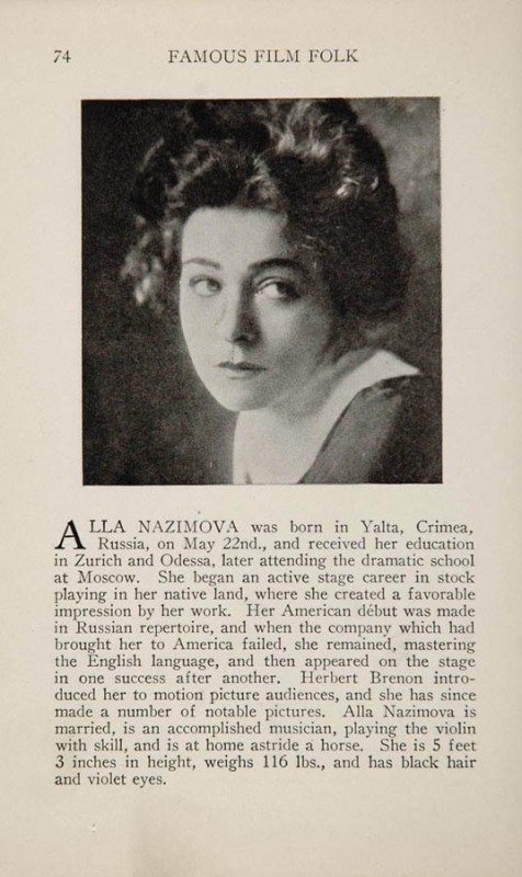 "1925: Entry for Alla Nazimova from 1925 book ""Famous Film Folk"" by Charles Donald Fox"