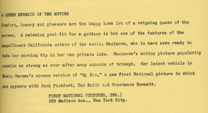 "1925: Publicity blurb on the back of photograph for Alla Naimova's movie ""My Son."""