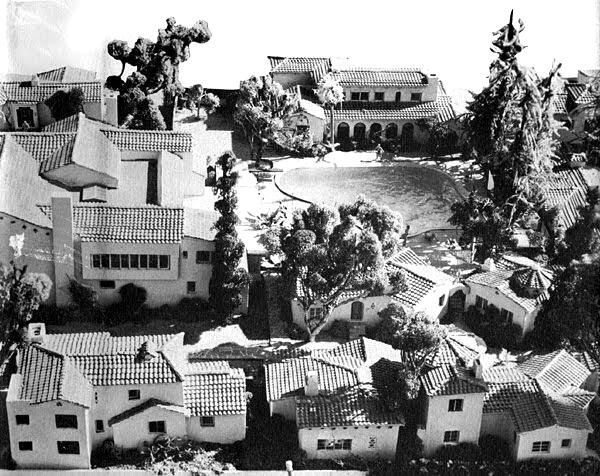 Photograph of the model of the Garden of Allah Hotel made after the hotel's closing.