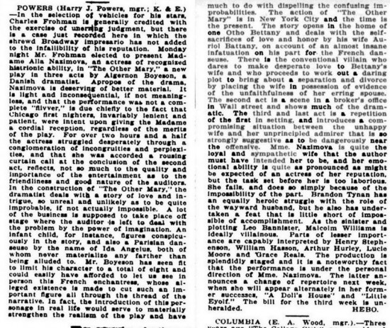 A review of THE OTHER MARY with Alla from October 1911