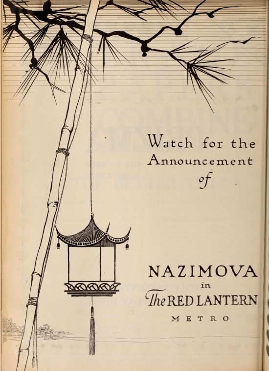 "Advance advertisement for Nazimova in ""The Red Lantern"" Motion Picture News Mar-Apr 1919"