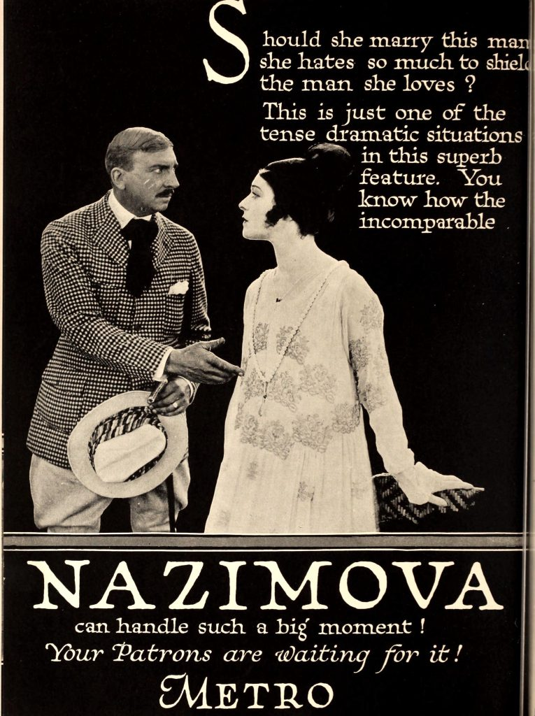 1920: Advertisement by Metro Pictures for Nazimova, Motion Picture News magazine, January - February 1920