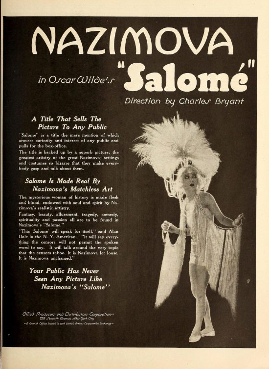"1923:Advertisement for Alla Nazimova in Oscar Wilde's ""Salome"" Exhibitor's Trade Review, March to May 1923"