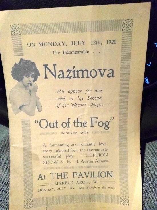"Advertisement for Alla Nazimova in ""Out of the Fog"" (1919)"