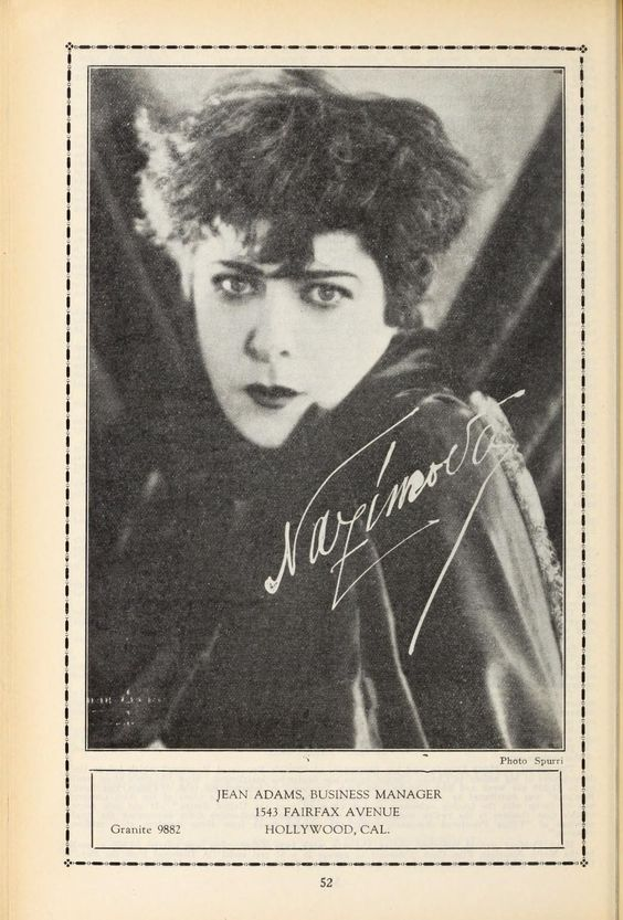 Advertisement for Jean Adams, Business Manager for Alla Nazimova, Film Daily Yearbook, 1925