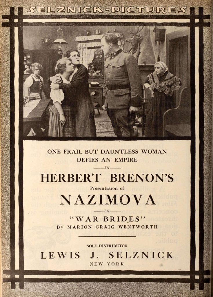 "Advertisement for Nazimova in ""War Brides"" - Motion Picture News Sept-Oct 1916"