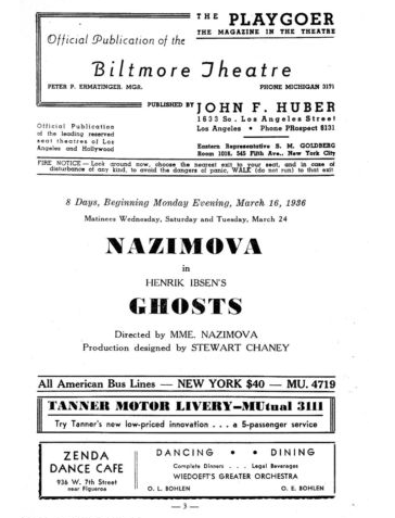 "Los Angeles Playbill for production of Ibsen's ""Ghosts"" starring Alla Nazimova at the Biltmore Theatre, 1936"