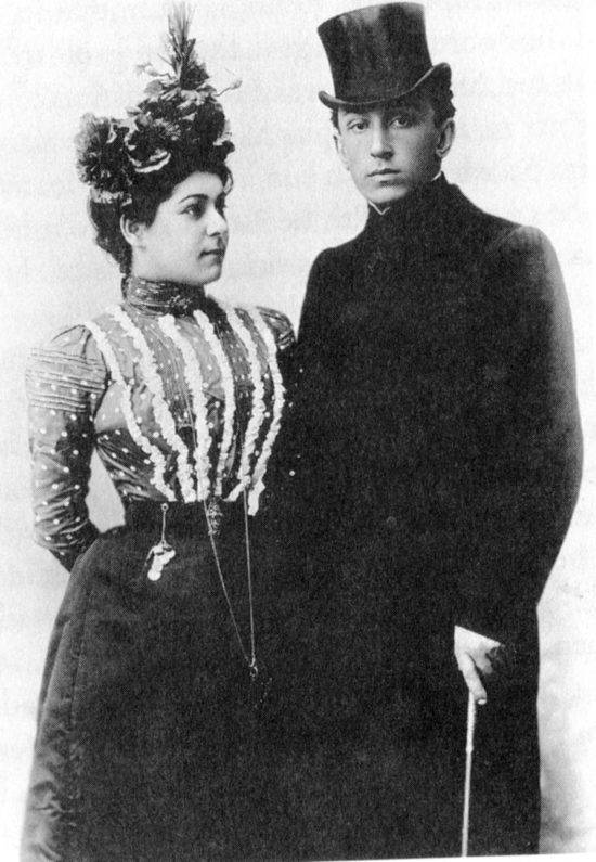 Alla Nazimova and Sergei Golovin a few days after their marriage in 1899