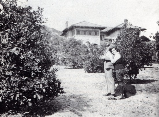 "Alla Nazimova and her ""husband"" Charles Bryant in the Garden of Alla"