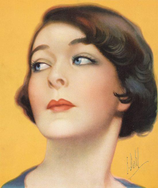 Color portrait of Alla Nazimova by artist E. Dahl