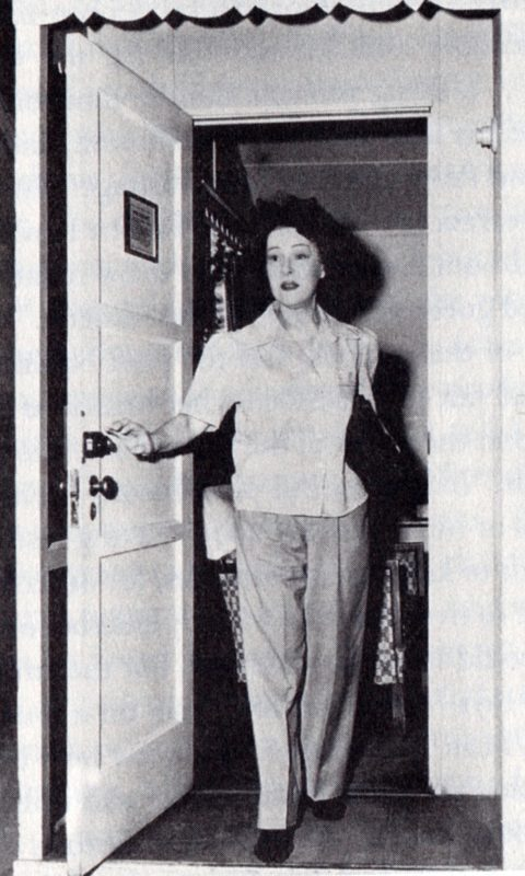 Alla Nazimova at the front door of Villa 24 at the Garden of Allah in 1938