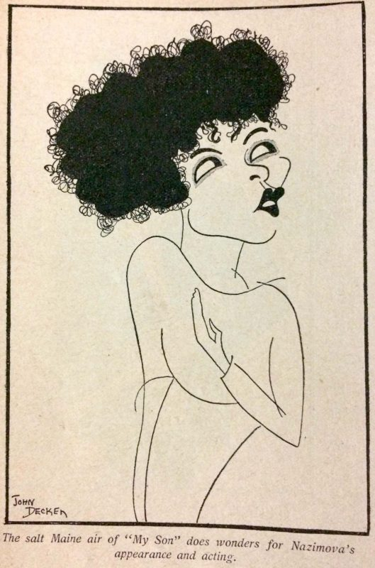 Alla Nazimova caricature by John Decker in Photoplay Magazine, July 1925