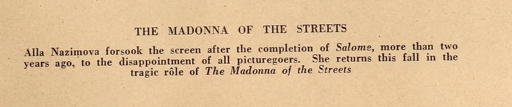 "Alla Nazimova in ""Madonna of the Streets"" (1924) - Motion Picture Magazine, November 1924 (2)"