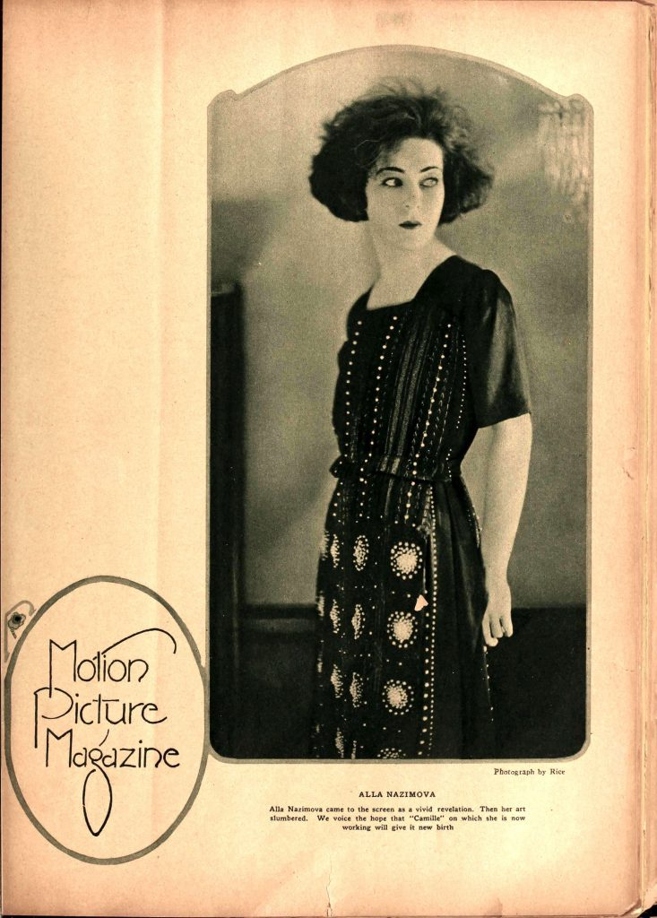 Alla Nazimova in Motion Picture Magazine, June 1921