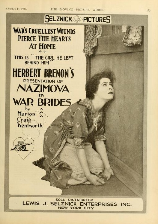 "Alla Nazimova in a poster for ""War Brides"" (1916)"