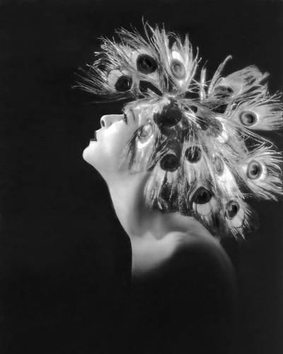 "1923:  Alla Nazimova in peacock feather headdress in ""Salome"""