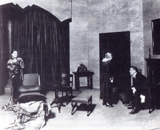 "Alla Nazimova (left) and Lionel Atwill in the 1918 production of ""Hedda Gabler"""