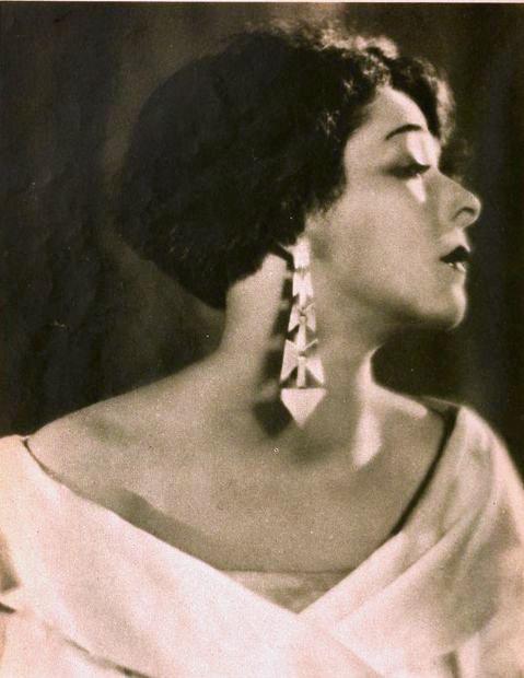 Alla Nazimova profile wearing geometric earrings