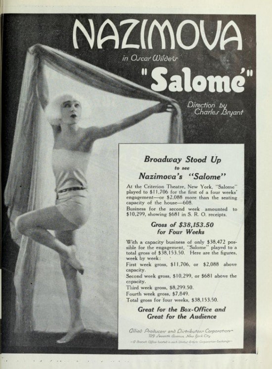 "1921: Alla Nazimova in advertisement for ""Salome"""