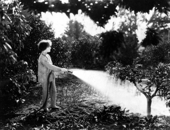 Alla Nazimova takes great pleasure in caring for the growing things around her estate