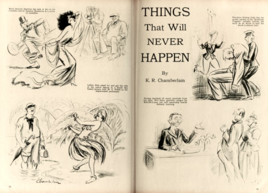 "Caricature of Nazimova in ""Things That Will Never Happen"" in Motion Picture magazine, August 1926"