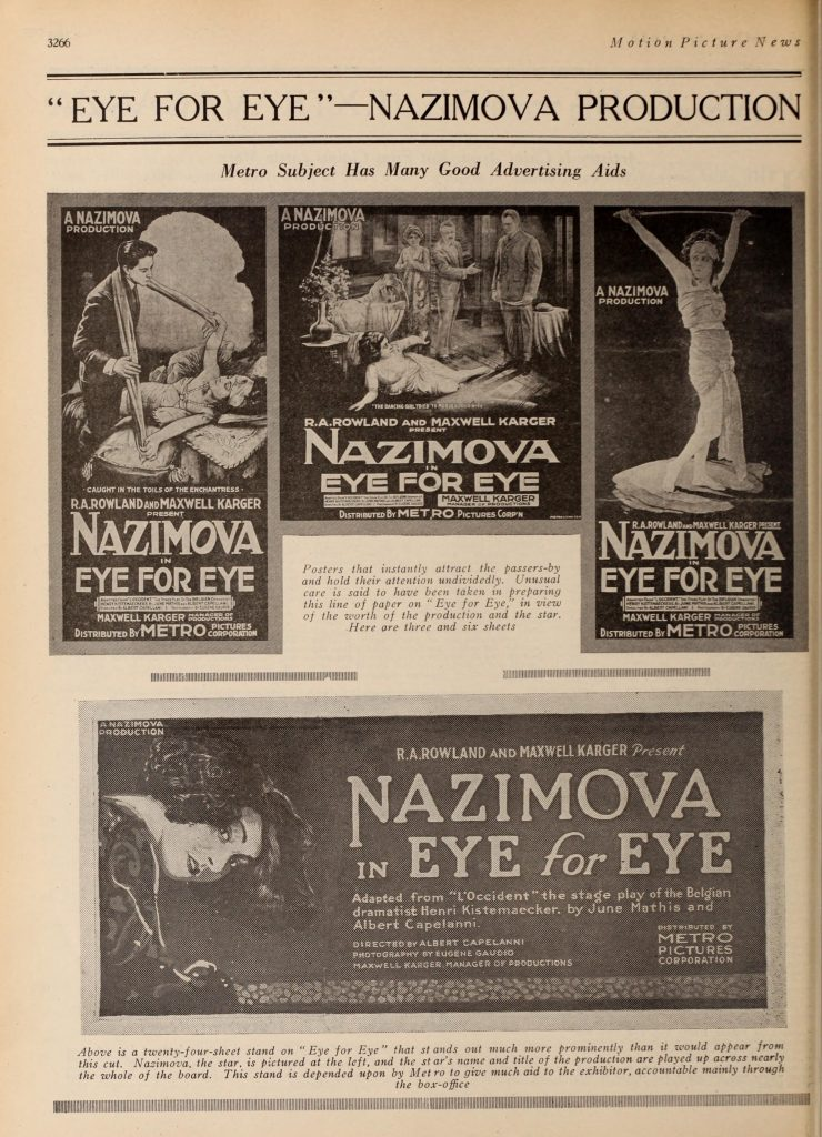 "Collage of advertisements for ""Eye for Eye"" starring Nazimova, Motion Picture News, Nov-Dec 1918"