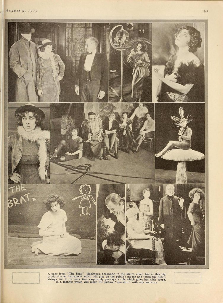 "Collage of photos of Alla Nazimova in ""The Brat"" in Motion Picture News magazine, July - August 1919"