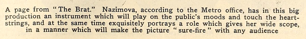 """Collage of photos of Alla Nazimova in """"The Brat"""" in Motion Picture News magazine, July - August 1919"""