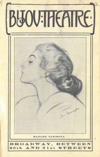 Cover of the program for Nazimova's performances with Walter Hampden at the Bijou Theatre for the week of September 23, 1907.