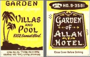 Matchbook covers for the Garden of Allah Hotel