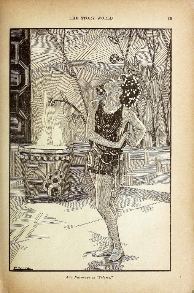 Illustration of Alla Nazimova as Salome in The Story World and Photodramatist March-June 1923.jpg
