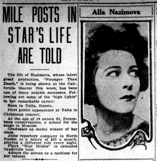 Los Angeles Evening Herald newspaper article about Alla Nazimova, February 9, 1920