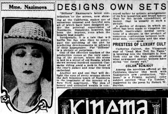 Los Angeles Evening Herald newspaper article about Alla Nazimova, March 7, 1921