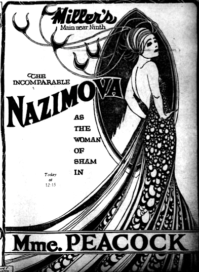 Los Angeles Evening Herald newspaper article about Alla Nazimova, November 22, 1920