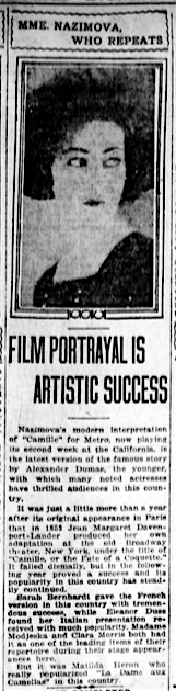 Los Angeles Evening Herald newspaper article about Alla Nazimova, November 7, 1921