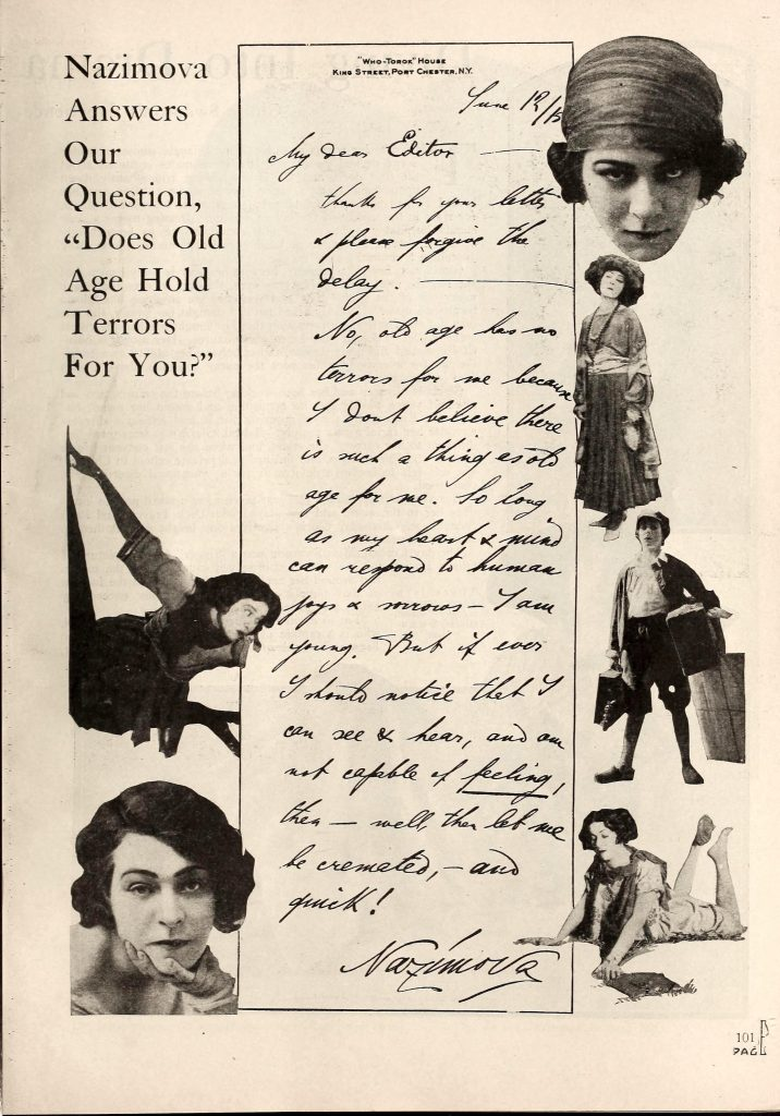 """""""Nazimova answers our question - Does old age hold terrors for you"""" Motion Picture Magazine - December 1919"""