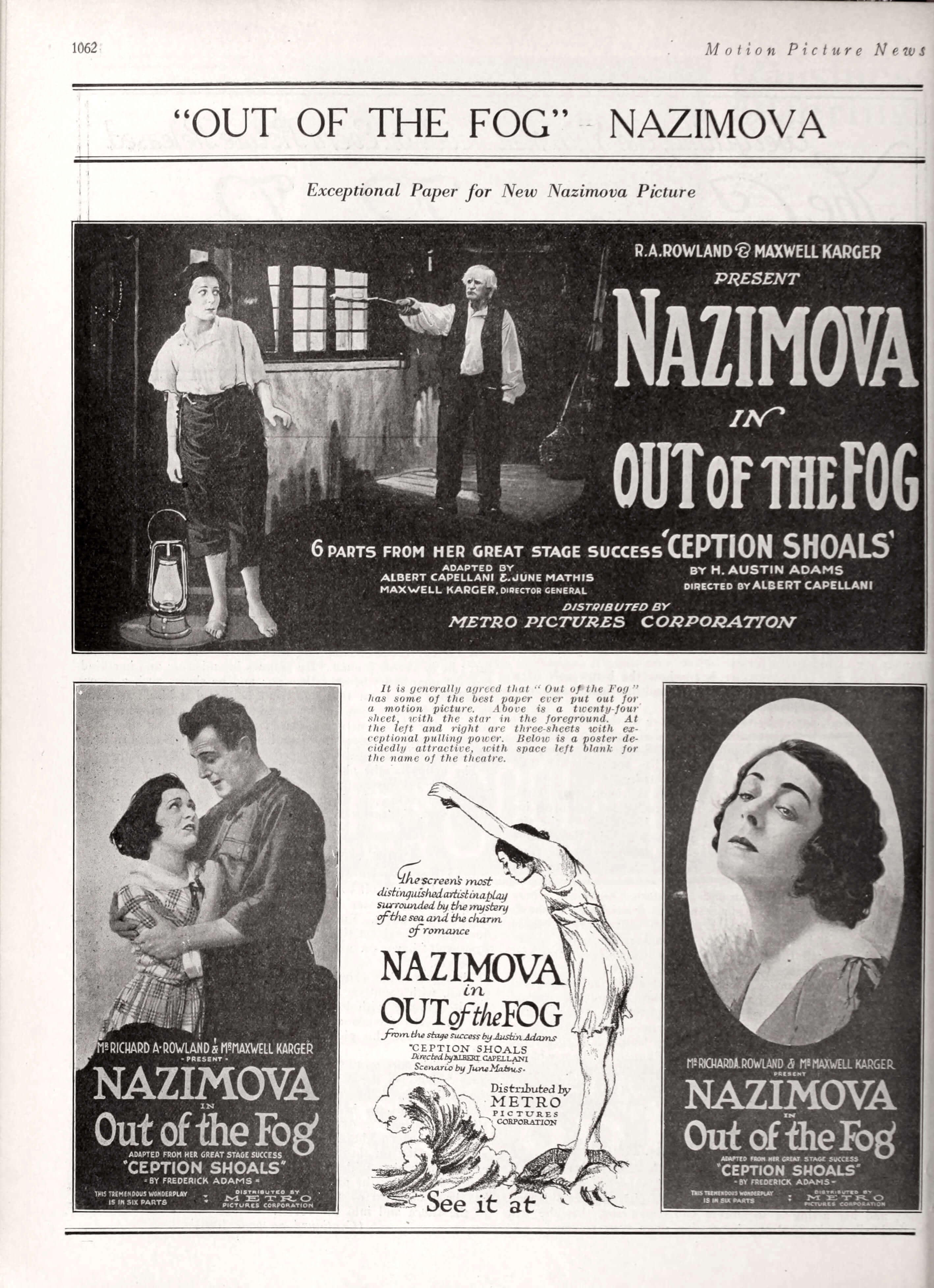"Nazimova in ""Out of the Fog"" - Motion Picture News Jan-Feb 1919"