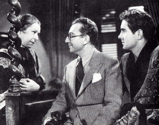 "Nazimova with director Robert Mamoulian and Tyrone Power on the set of ""Blood and Sand"" (1941)"