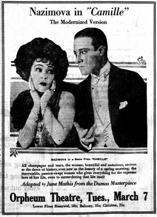 """1921 - Newspaper advertisement for Alla Nazimova and Valentino in """"Camille."""""""