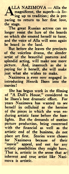 "Newspaper article on Alla Nazimova during the filming of ""A Doll's House"" (1922)"