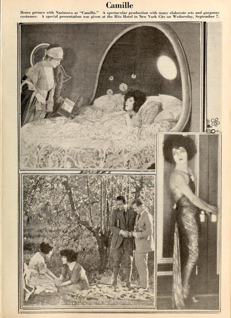 "Photospread of scenes from Nazimova's ""Camille"" (1921) in Exhibitor Trade Review magazine, September 17, 1921"
