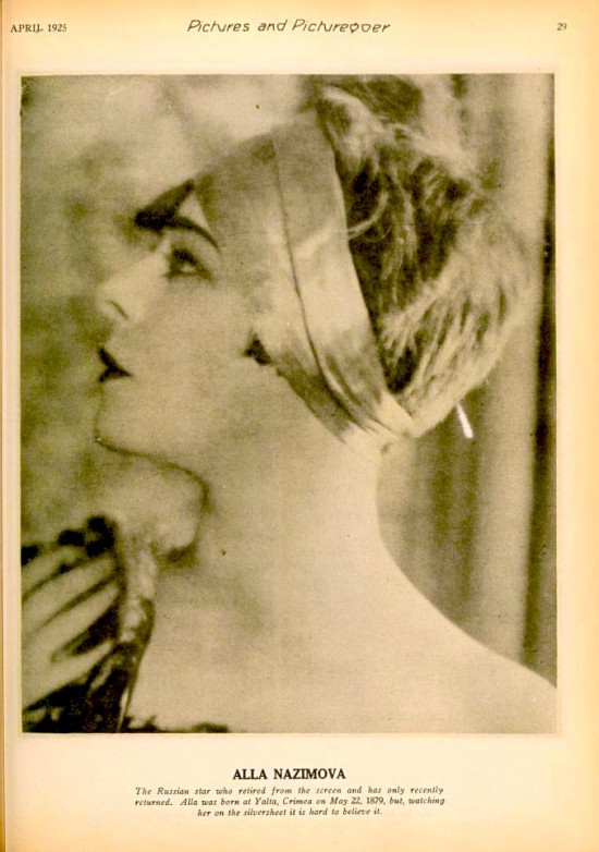 1925: Photograph of Alla Nazimova from Pictures and Picturegoer magazine, April 1925