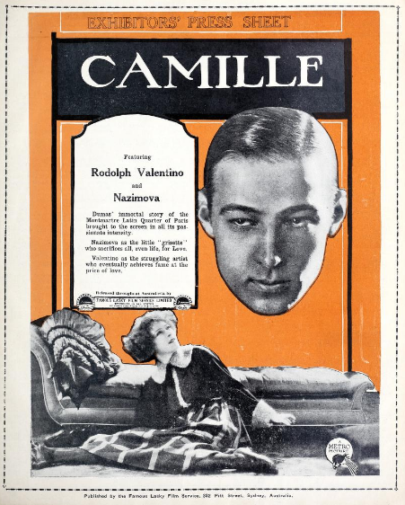 "Poster for Alla Nazimova and Rudolph Valentino in ""Camille"" (1923)"