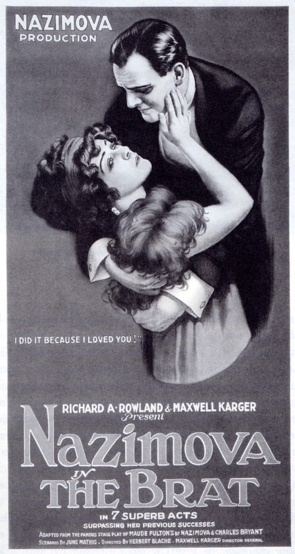 "Poster for Alla Nazimova in ""The Brat"""